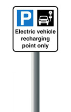 Electric Vehicle Recharging Point Sign with Post